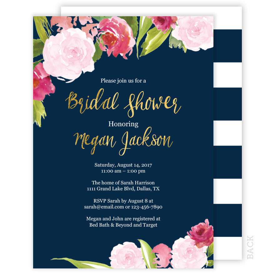 Floral Navy and Gold Bridal Shower Invitation