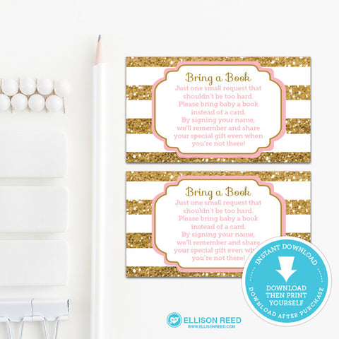 Gold and Pink Book Request Card - Bring A Book - Baby Shower