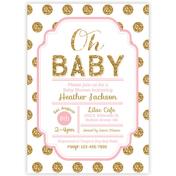 Polka Dot Baby Shower Invitation - Pink and Gold Glitter Baby Shower Invitation - aditional colors avalable