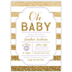 Gold Glitter Baby Shower Invitation - aditional colors avalable