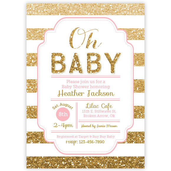 Gold Glitter Baby Shower Invitation Aditional Colors Avalable