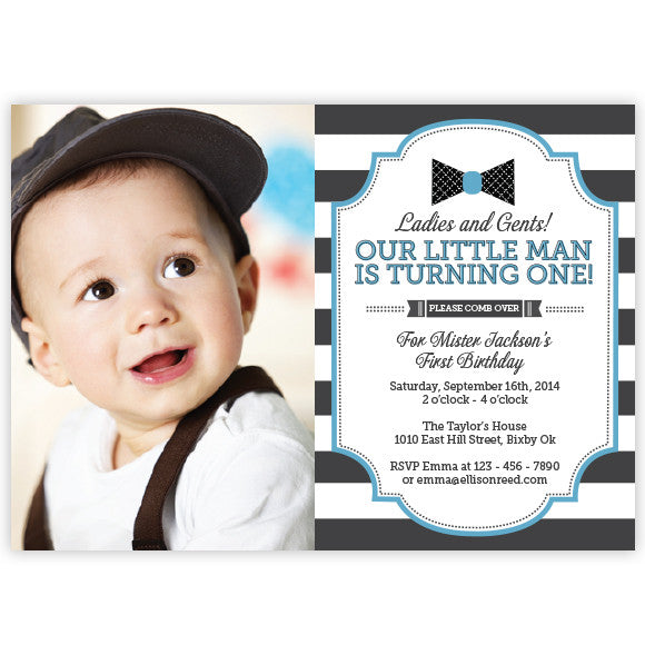 Bow Tie Little Man Birthday Invitation