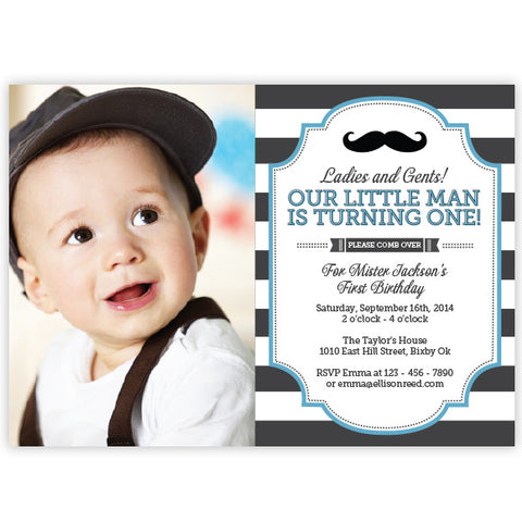 Mustache Little Man Birthday Invitation