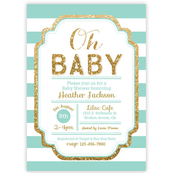 Well known Pink and Gold Glitter Baby Shower Invitation - aditional colors  UJ86
