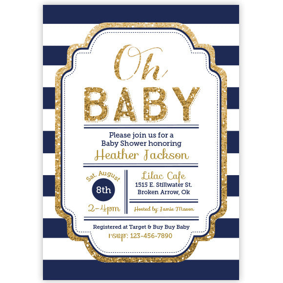 pink and gold glitter baby shower invitation - aditional colors, Baby shower invitations