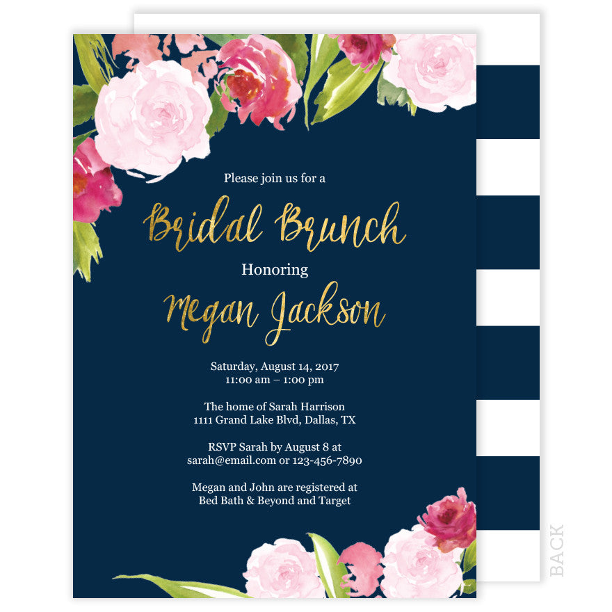 Bridal Brunch Invitation - Navy and Gold - Floral Watercolor