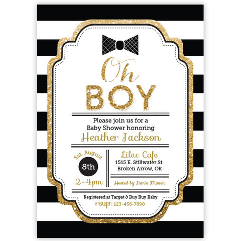 Oh Boy Baby Shower Invitation - Bowtie Invitaiton - Boy Baby Shower Invitaiton