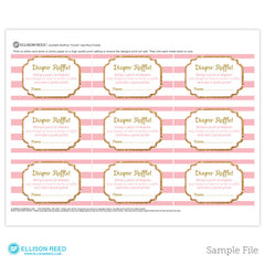 Pink and Gold Diaper Raffle Ticket - Baby Shower