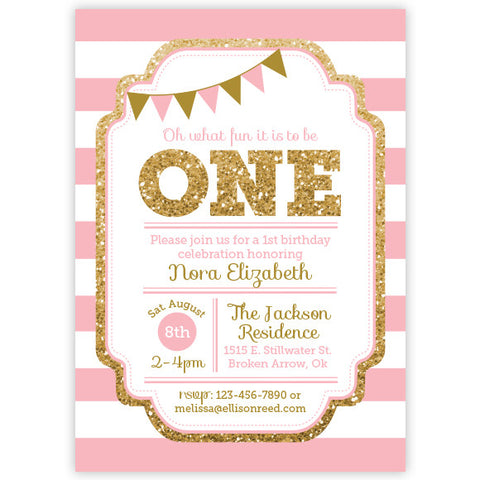 Farm birthday invitation barnyard ellison reed pink and gold glitter 1st birthday invitation stopboris