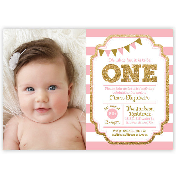 Pink and Gold 1st Birthday Invitation