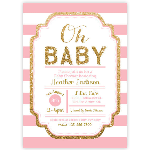 Pink and Gold Glitter Baby Shower Invitation - aditional colors avalable
