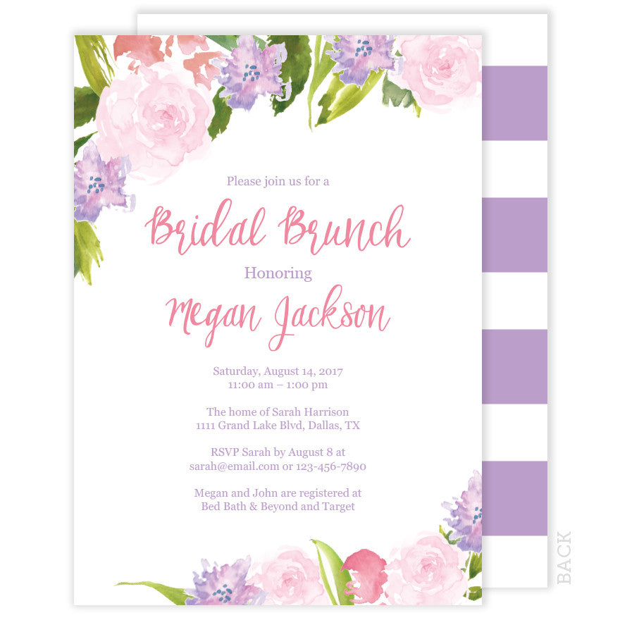 Pink and Purple Bridal Brunch Invitation - Floral Watercolor