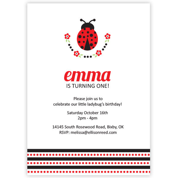 Lady Bug Birthday Invitation