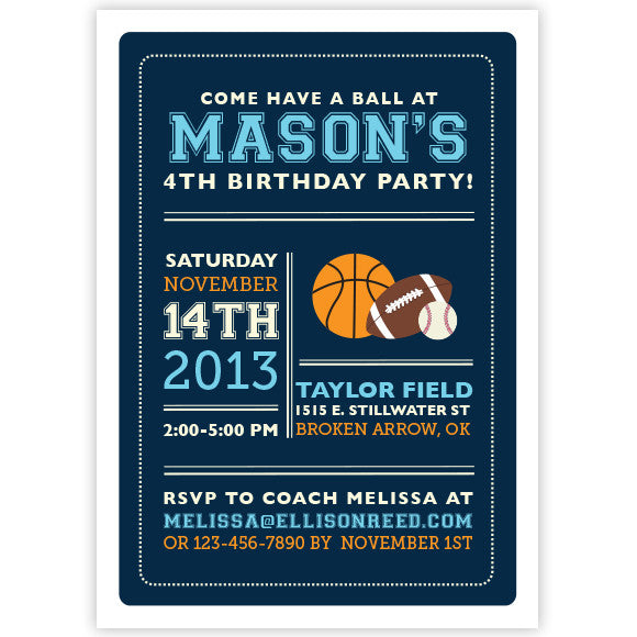 Sports Birthday Invitation Ellison Reed