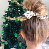 Christmas MINI Bow Scrunchie - Mistletoe