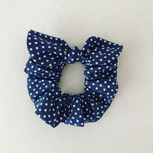 MINI Bow Scrunchie - Navy Polka Dot