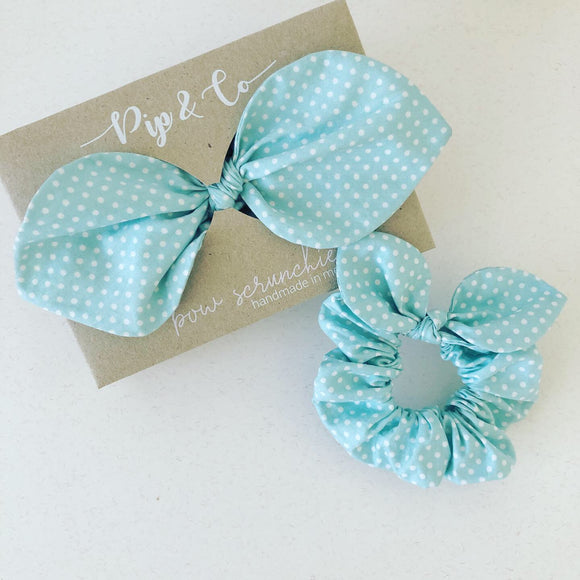Mummy & Me Bow Scrunchies - Mint Polka Dot