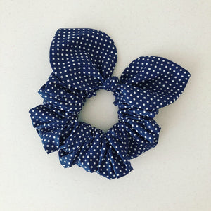 Bow Scrunchie - Navy Polka Dot