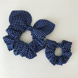 Mummy & Me Bow Scrunchies - Navy Polka Dot
