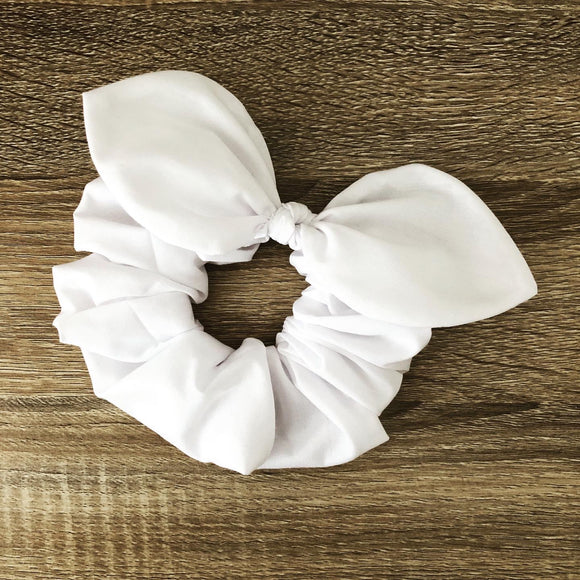 Bow Scrunchie - White