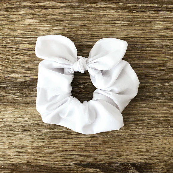 MINI Bow Scrunchie - White