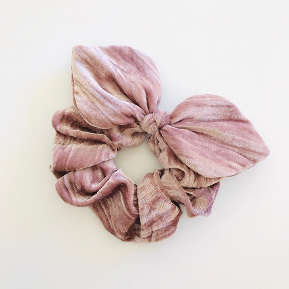 Bow Scrunchie - Blushing Pink Velvet