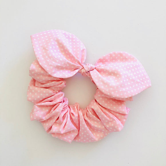 Bow Scrunchie - Fairy Floss Polka Dot