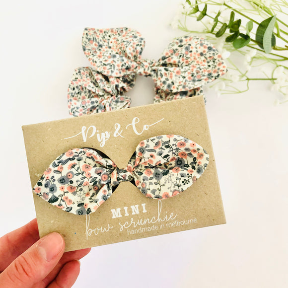 MINI Bow Scrunchie - Cottage Garden