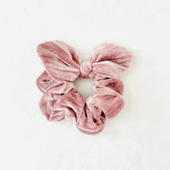 MINI Bow Scrunchie - Blushing Pink Velvet