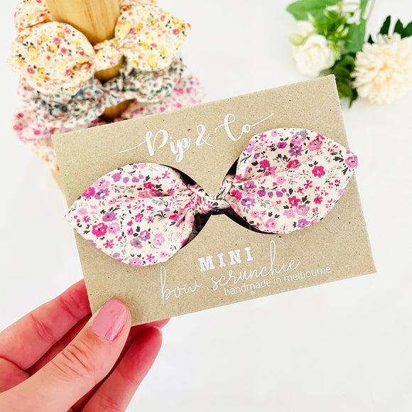 MINI Bow Scrunchie - Poppy Pink
