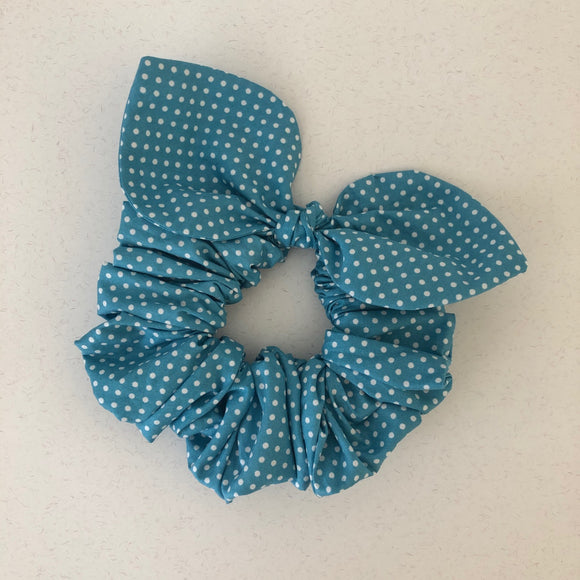 Bow Scrunchie - Duck Egg Polka Dot