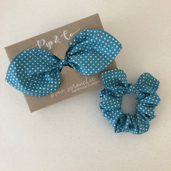 Mummy & Me Bow Scrunchies - Duck Egg Polka Dot