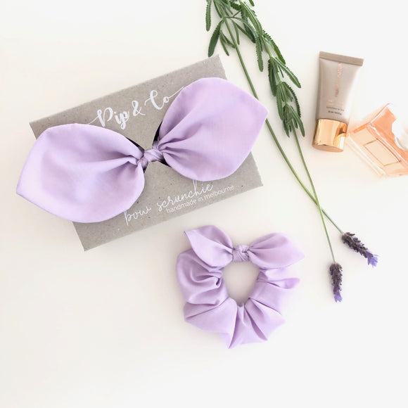 Mummy & Me Bow Scrunchies - Lilac