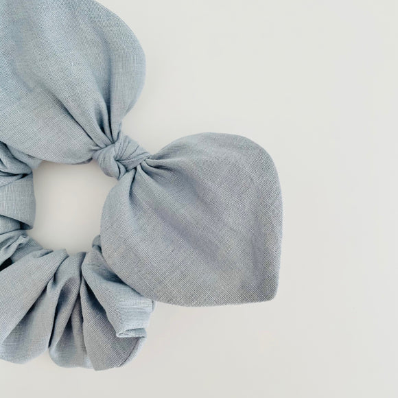 Bow Scrunchie - Linen Powder Blue