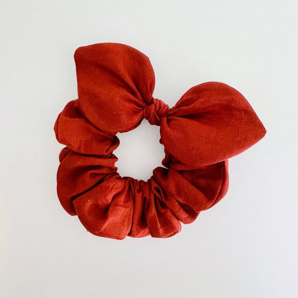 Bow Scrunchie - Linen Rust