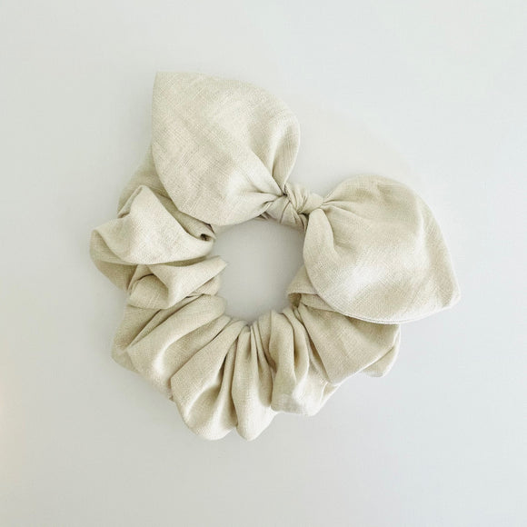 Bow Scrunchie - Linen Natural
