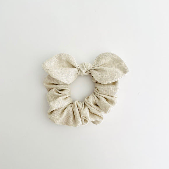 MINI Bow Scrunchie - Linen Natural