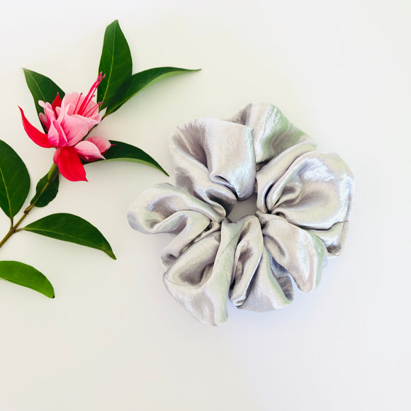 Satin Scrunchie - Silver