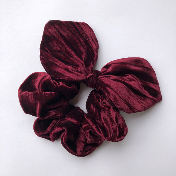 Bow Scrunchie - Black Cherry Velvet