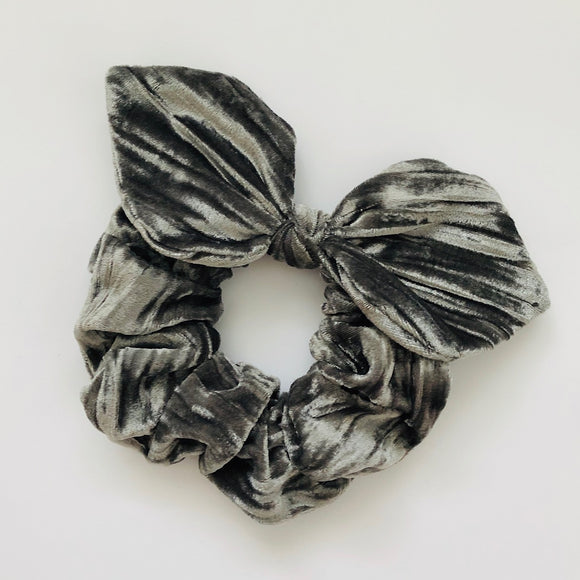 Bow Scrunchie - Grey Velvet