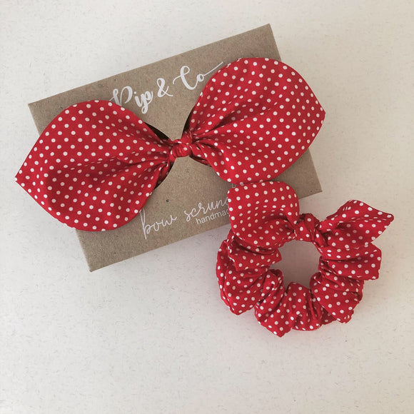 Mummy & Me Bow Scrunchies - Red Polka Dot