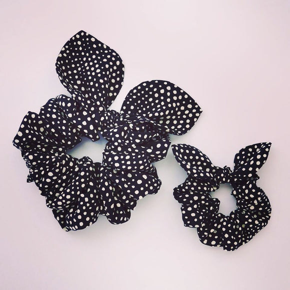 Mummy & Me Bow Scrunchies - Pebble Noir