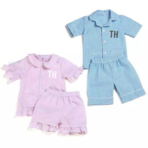 Personalised Seersucker Short Pyjamas - Ruby & Ralph Boutique