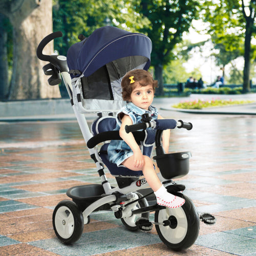 4-in-1 Baby Tricycle Folding Stroller Kids Trike Detachable w/ Canopy - Ruby & Ralph Boutique