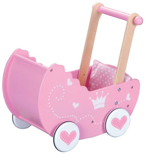 Lelin Wooden Princess Doll Pram Buggy Pushchair Children Girls Pretend Play - Ruby & Ralph Boutique