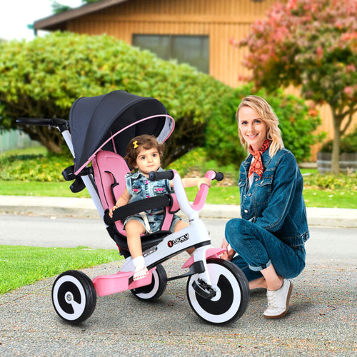 Baby Tricycle Children's 4 In 1 Trikes Kids Stroller W/ Canopy Pink - Ruby & Ralph Boutique