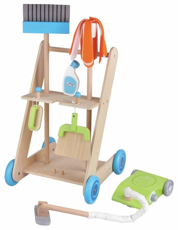 Lelin 11PC Wooden Toy Cleaning Cart Trolley Pretend Play Set for Kids - Ruby & Ralph Boutique