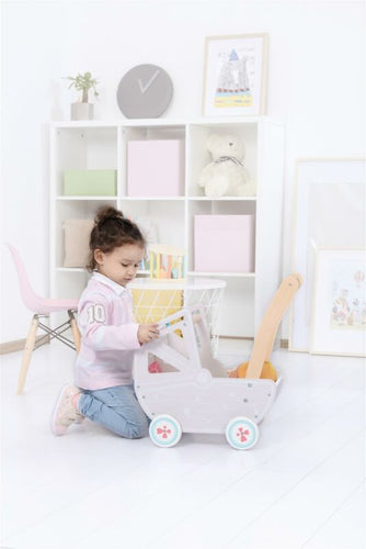 LELIN Wooden Pram For Girls - Pretend Play Doll Push Chair - Ruby & Ralph Boutique