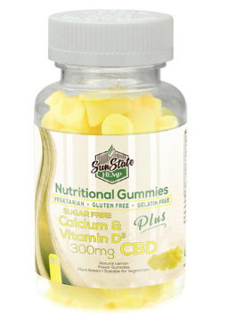 SUN STATE HEMP CBD NUTRITIONAL CALCIUM & VITAMIN D GUMMY 300MG - 60PCS