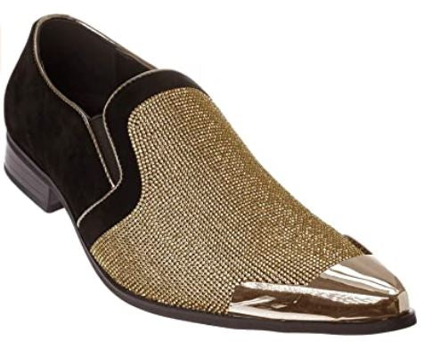 Mens Rhinestone Dress Shoes _Gold